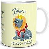 TRIOSK Tasse Katze Sternzeichen Löwe Geschenk Geburtstag Freundin Kollegin Katzenfreunde Gelb Bunt, 300 ml