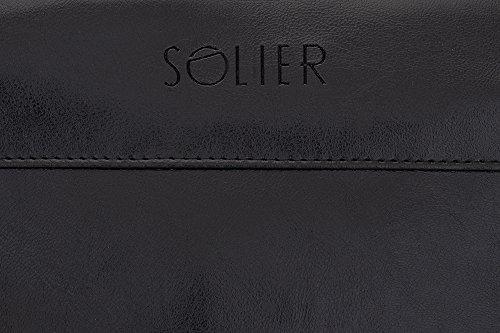 Solier Leder Herren Reisetasche Sporttasche Wochenende Schulter Premium Tasche Premium GOVAN S18 (Schwarz) Schwarz