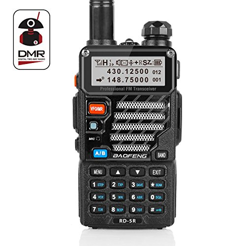Radioddity x Baofeng RD-5R DMR digitales Amateurfunk Transciever, dualband Doppelzeitschlitz Handfunkgerät 1024 Kanäle Tier I & II kompatibel mit MOTOTRBO, gratis Programmierkabel Vhf-uhf-repeater