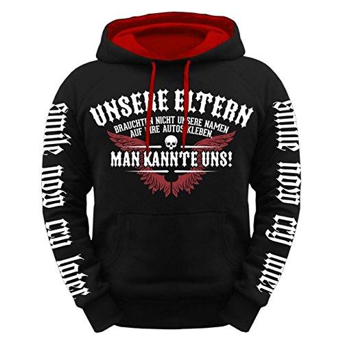 Männer und Herren Kapuzenpullover Unsere Eltern brauchten KEINE Namen aufs Auto schwarz/rote kapuze
