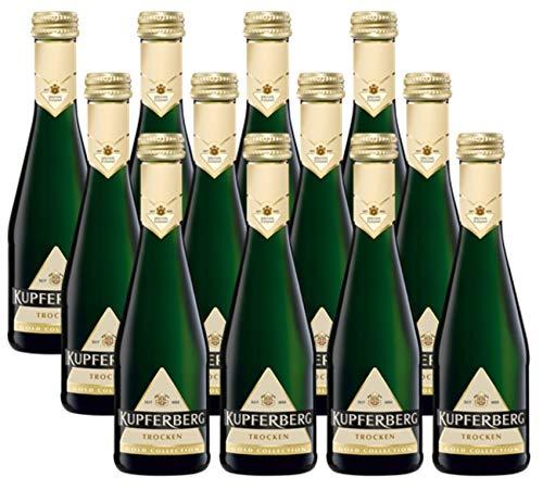 KUPFERBERG Gold Sekt Trocken (12 x 0.2 l) ǁ Piccolo ǀ kleine Flaschen ǀ prickelnder & klassischer Sektgenuss ǀ zum Anstoßen & Feiern ǀ für jeden Anlass der richtige Sekt