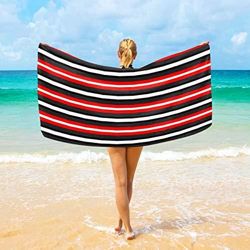 Ahomy Mikrofaser-Strandtücher rot und schwarz Candy Stripe großes Reise-Handtuch - Ultra saugstark, schnell trocknend Gym Handtuch für Herren, Frauen und Kinder (Rot Candy Schwarz Und)
