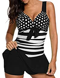 Overdose Regenbogen Damen Übergröße Bikinis Tankini Swim Kleid Badeanzug  Beachwear gepolsterte Bademode Frauen Plus Size Beachwear 2677138696