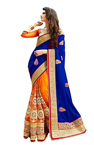 Winza Designer Royal Blue & Orange Georgette and net top party wear saree with embroidered blouse for women