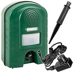 VOSS.sonic 2800 Ultraschall Vertreiber mit Bewegungsmelder & BLITZ - Marderschreck , Katzenschreck , Tierschreck , Waschbären inkl. Netzteil und Erdstab