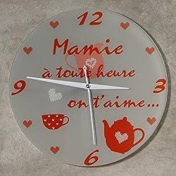 HeMy - Horloge Je t'aime Mamie - Cadeau original pour Papi et Mamy - Fête des Grands mères, Anniversaire, Noël.)