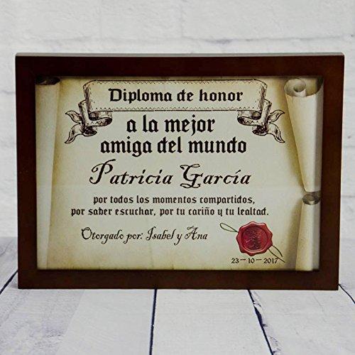 Regalo para amigas personalizable: diploma pergamino 'a la mejor amiga del mundo' personalizado con su nombre, dedicatoria, firma y fecha