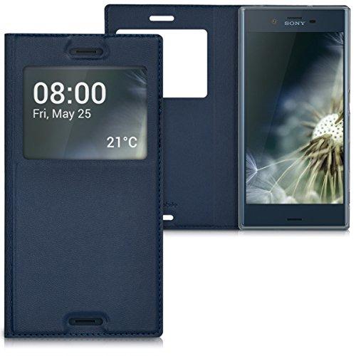 kwmobile Flip Case Hülle für Sony Xperia XZ mit Sichtfenster - Aufklappbare Kunstleder Schutzhülle im Flip Cover Style in Dunkelblau