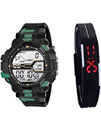 Faas Military Print Digital + Led Sports Watch Luminous Light Casual & Sport Wear- For Boys & Men FW-0191 (Combo)