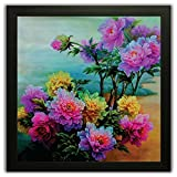 #3: Framed Floral Wall Paintings for Living room and Bedroom. Frame size (12 inch x 12 inch, (Wood, 30 cm x 3 cm x 30 cm, Special Effect Textured)