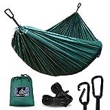 NatureFun Ultraleichte Camping Hängematte / 300kg Tragfähigkeit, Atmungsaktiv, schnell trocknende Fallschirm Nylon / Enthalten 2 x Premium Karabinerhaken 2x Nylonschlingen / Fürs Freie oder einen Innengarten
