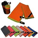 Fashion do Sol Mikrofaser Handtücher 2er-Set | 140x70+100x50cm | schnelltrocknend, saugfähig, leicht, Antibakteriell | Bade-Reise-Fitness-Yoga-Sauna-Gym-Outdoor-Sport-Handtücher mit Ecktasche Orange