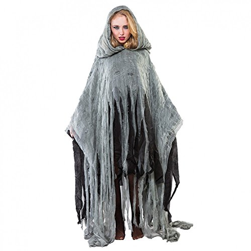 Poncho Zombie grau Einhgr. Erwachsene Fetzen Umhang Gewand Halloween Fasching (Poncho Halloween Kostüm)