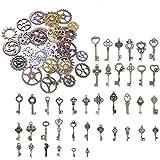 BronaGrand 125 Gramm Sortierte Zahnräder Steampunk Anhänger Vintage Deko Schlüssel Skeleton Bronze Schlüssel Retro Anhänger für Halskette zum Herstellen von Schmuck, Basteln
