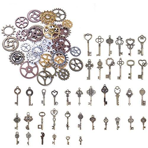 (bronagrand 125Gramm Vintage Skelett Schlüssel Charms Steampunk Gears Cyberpunk Uhrenteile Zahnräder Getriebe für das Handwerk und Schmuckherstellung)