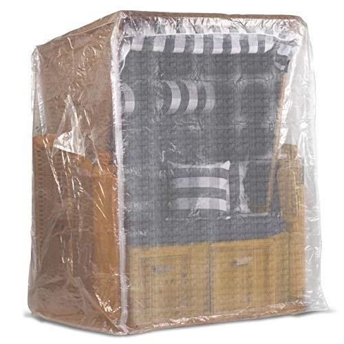 Möbelcreative Strandkorb Schutzhülle 120 cm breit in transparent, Strandkorbhülle mit reißverschluss, Strandkorbabdeckung