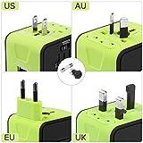WEINAS Adattatore Universale da Viaggio con 2 Porte USB di Ricarica, Tutto in Uno Caricabatterie Internazionale - EU / UK / US / AUSAdattatore a Spina per 160 Paesi nel Mondo da Viaggio Universale - Colore Verde