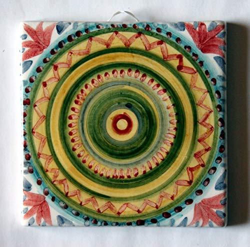 Geometrische Fliese - Handgemachte Keramikfliesen, Abmessungen cm 10x10x0,8 cm, bereit, an der Wand befestigt zu werden.Hergestellt in Italien, Toskana, Lucca. Erstellt von Davide Pacini.