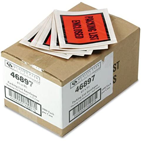 Calidad ParkTM - full-impresión autoadhesivo Lista de embalaje del sobre, naranja, 5 1/2 x 4 1 11/2, 1000/caja - se vende como 1 Carton - agua y plástico resistente a la rotura.