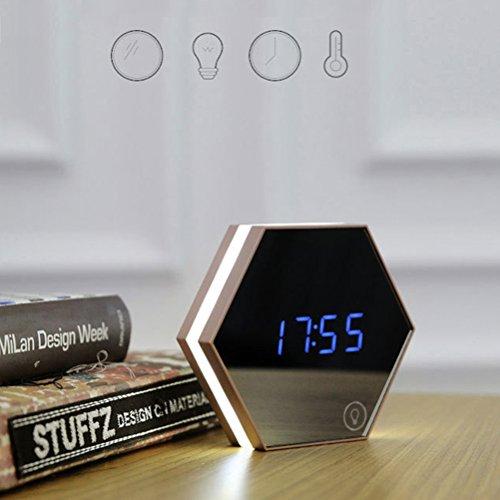 ROSENICE Sechseckige Spiegel + Thermometer Touch LED Nacht Licht digitaler Alarm - Kleine Wanduhr Digital