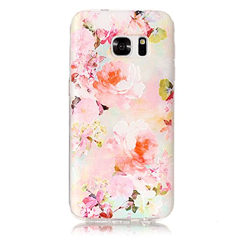 Price comparison product image For Samsung Galaxy S7 Case [With Tempered Glass Screen Protector], Qimmortal(TM) Colourful Painting Pattern Soft Gel TPU Silicone Personality relief pattern Scratch Resistant Protective Cell Phone Case Cover For Samsung Galaxy S7(Peony)