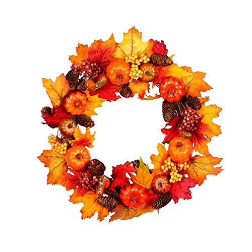 EisEyen Herbstkranz Herbst Deko Kranz mit LED,Äpfel, Blätter, Beeren und Pinecones Tür Wanddeko Selbst Gemacht für Weihnachten Halloween Thanksgiving Heim Fenster Party Dekor