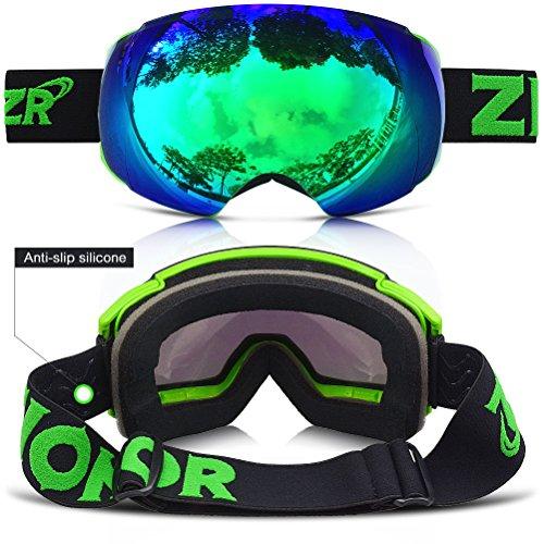 ZIONOR Occhiali da Sci Lagopus X4 Snowboard Maschera da Sci con Magnete Cambio Rapido Sistema di Lenti Sferica Wide View Anti Nebbia Protezione UV400 Occhiali per Adulti e Adolescenti