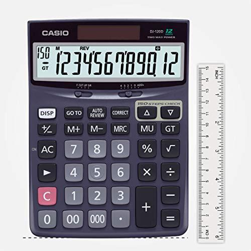 Casio DJ-120D 150 Steps Check and Correct Desktop Calculator with Bigger Screen/Keys (12 Digit)