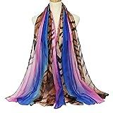 zhouzhou666 Bufanda De Algodón Y Lino para Mujer Bufanda Estampado De Leopardo Toalla De Playa Degradado, Púrpura
