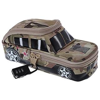 Baiyao Vehicle Pen Pouch Bag with Combination Lock Pencil Case Double Zipper for Boys (AY)