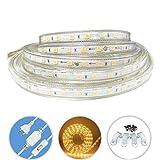 ZCPlus LED Streifen Warmweiß 2M/6.56ft LED Lichtband Lichtleiste 2835 SMD Wasserdicht LED Leisten(220V)