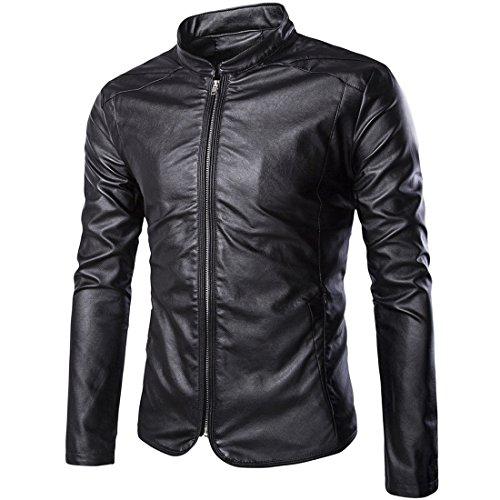 Partiss Herren Jungen PU Leder Kunstleder Cool Motorrad Jacke Tag L/EU S Black