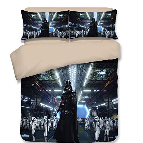 Smile Bettbezug 3-teilig Superweiche Kinderbettwäsche Star Wars Druck Ausbleichende Polyester-Mikrofaser Bequeme Bettwäsche,03,Twin (Star Wars Bettwäsche Twin)