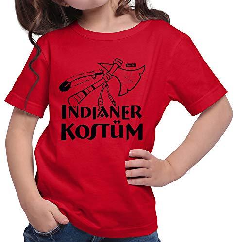 HARIZ  Mädchen T-Shirt Indianer Kostüm Karneval Kostüm Plus Geschenkkarte Rot 140/9-11 Jahre