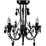 Minisun - Preciosa lámpara de techo de estilo araña con 3 luces, vintage negra