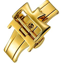 20mm Stainless Steel Gold Plate Deployment Clasp Buckle Replacement
