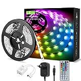 LE Ruban LED RGB 5M V5050 Multicolore Dimmable, Bande Lumineuse Adhésif Efficace 20 Couleurs 8 Modes, Télécommande à Grande Distance Modulable pour Éclairage DIY, Belle Ambiance