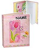 alles-meine.de GmbH Einsteckalbum / Fotoalbum -  Flower - Blumen - pink / rosa  - incl. Name - 11x15 & 10x15 - Ringbuch beliebig erweiterbar - zum Einstecken - für bis zu 80 Bi..