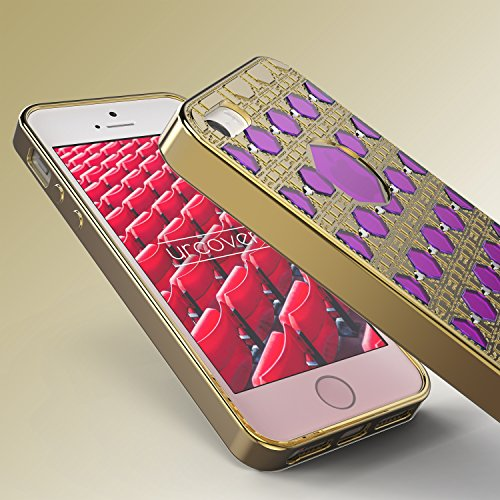 iPhone 5 / 5s / SE Coque, Urcover Housse Souple Oriental Glittery Diamant Brillant Strass Étui Apple iPhone 5 / 5s / SE Case Or - Fuchsia Bling Téléphone Smartphone Or / Fuchsia