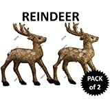 AMFIN® Copper Christmas Rain Deer / ReinDeer Tree Hanging Ornament Party Xmas Decoration - Set Of 2