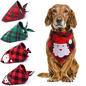 Olgaa 4 Motifs de Noël pour Chien, Chat, Bandana Père Noël, Bandana Triangulaire pour Chien, Chat, décoration de Noël