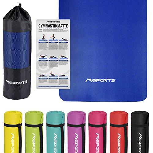 MSPORTS Gymnastikmatte Studio | inkl. Übungsposter und Tragetasche | Hautfreundliche - Phthalatfreie Fitnessmatte weich | Yogamatte (183 x 61 x 1 cm - Königsblau)