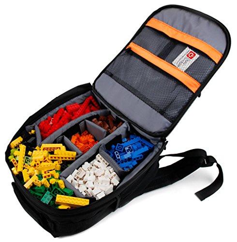 DURAGADGET Mochila Organizadora De Piezas De LEGO + Funda Impermeable - Diseño Negro - ¡Ideal Para Regalo!