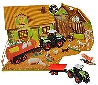 Komplettset: XL Bauernhof / Pferdestall mit Stall + Traktor mit Tiere + Zubehör - 1/43 - für Kinder Pferd zum Spielen + Bauen aus Plastik / Kunststoff - Gestüt - Farmtiere Deko Tier - Spielwelt Spielset