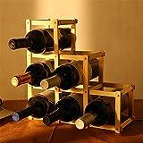 LIXIONG Wine rack 6 Bottles Holder Collapsible Solid wood Display Shelves , 32 * 12 * 32cm