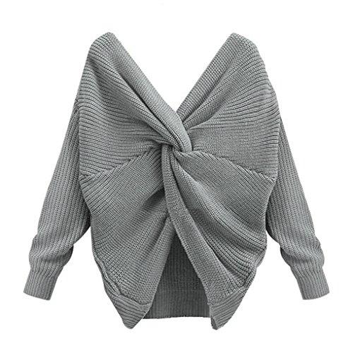 Mengonee Sexy Backless Reversible Off Schulter Pullover V-Ausschnitt Cross Back Frauen Langarm Pullover - Reversible Damen-pullover