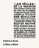 Règles de la maison Sticker mural Devis Français Home Decor Vinyle Décoration 58x82cm...