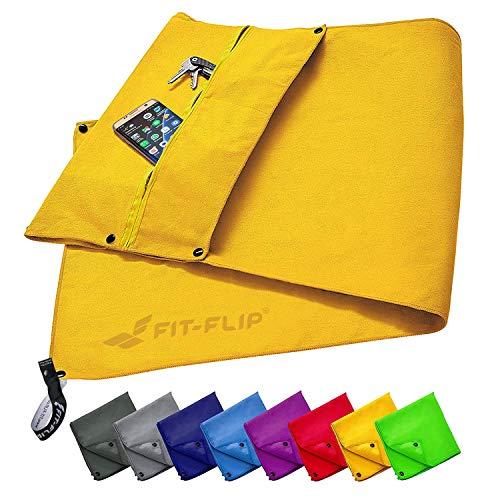 Fit-Flip 3-TLG Fitness-Handtuch Set mit Reißverschluss Fach + Magnetclip + extra Sporthandtuch   zum Patent angemeldetes Multifunktionshandtuch, Microfaser Handtuch (gelb) - Moderne Handtuch-set