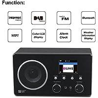 Ocean Digital WR282CD Radio Internet WiFi FM avec DAB/DAB Bluetooth récepteur radio-réveil en bois chevet - noir