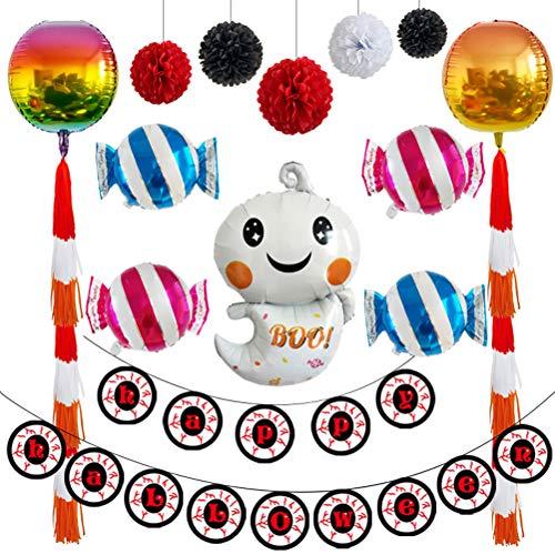 TOYANDONA Luftballons Set Halloween Alufolien Luftballons Ghost Candy Halloween Hängebanner Papier Blumen Partyzubehör Dekorationen (Leicht Machen Kulisse Zu Halloween)